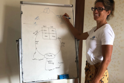 Cheryl studying Balinese massage in Bali