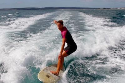 Cheryl surfing